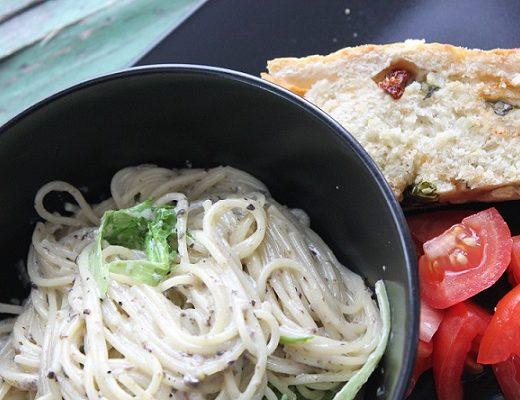 Kremet spaghettini med smak av trøffel