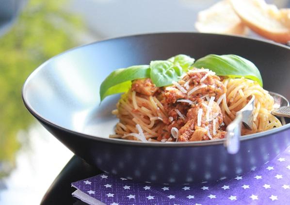 Smakfull spaghetti med soltorket tomat