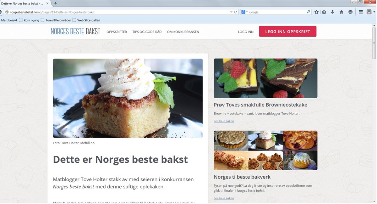 Printscreen fra Norges beste bakst