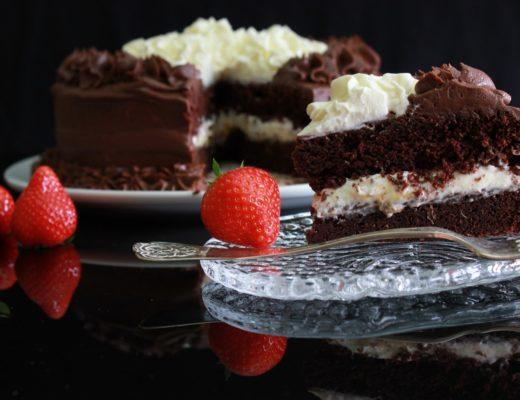Sjokoladekake med sjokoladeostekrem