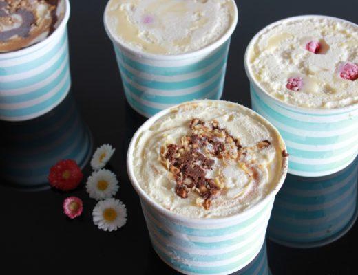 Hjemmelaget iskrem - snickersis og iskrem med bringebaer og hvit sjokolade