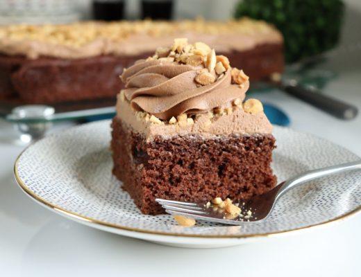 Sjokoladekake med coca cola - colakake - kolakake - med sjokoladekrem med rom - romkrem