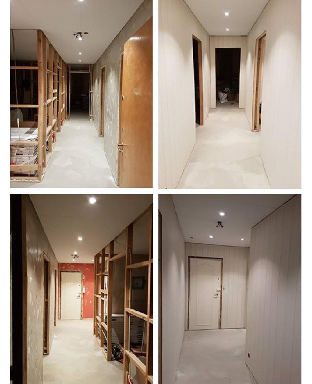 Oppussing av leilighet - Gangen før og etter