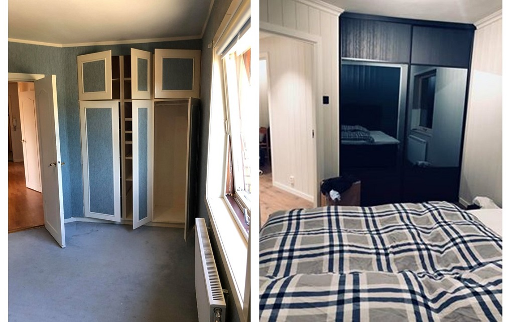 Oppussing av leilighet - Soverom før og etter
